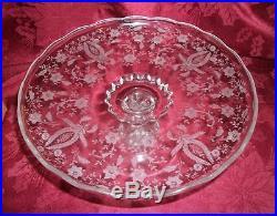 Vintage EAPG Etched Floral Pedestal Cake Plate 11D X 5H