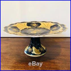 Vintage Echt Weimar Jutta 522 Cobalt & Gold Pedestal 12.75 D Cake Plate Excelle