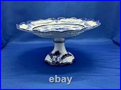 Vintage Elegance And Charm Blue & White Pedestal Cake Stand Plate 10 W X 6 H