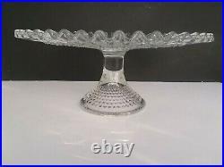 Vintage FENTON Art Glass CRYSTAL CLEAR HOBNAIL Pedestal 12.5 Cake Stand Plate