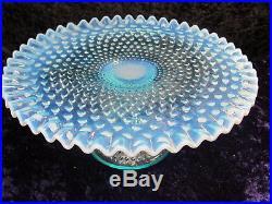 Vintage FENTON Blue Topaz OPALESCENT Hobnail Pedestal Cake Plate Stand Art Glass