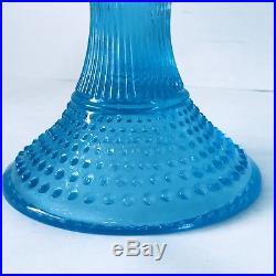 Vintage FENTON HOBNAIL Opalescent Topaz Blue Glass CAKE Plate Pedestal Stand