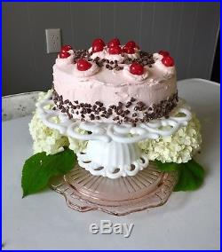 Vintage FOSTORIA Lace Milk Glass Scroll Pattern PEDESTAL CAKE STAND Plate MONROE