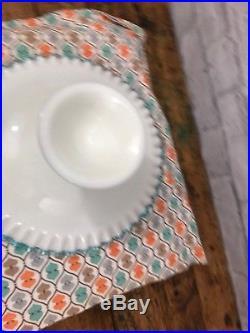 Vintage Fenton Aqua Blue Milk Glass Ribbon Edge Cake Plate Pedestal Stand Rare