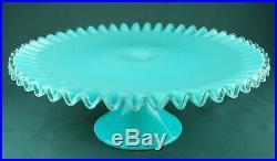 Vintage Fenton Aqua Turquoise Blue Silver Crest Pedestal Glass Cake Plate 13.5