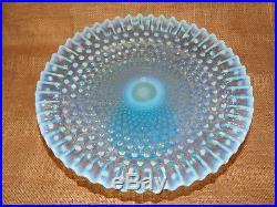 Vintage Fenton Cake Plate Blue Opalescent Hobnail Pedestal Footed