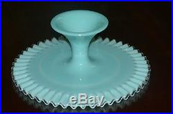 Vintage Fenton Glass Turquoise Silver Crest Footed Pedestal Cake Plate Stand