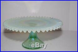 Vintage Fenton Hobnail Translucent Turquoise Pedestal Cake Plate