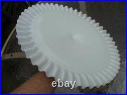 Vintage Fenton Milk Glass Hobnail Pedestal Cake Stand Plate Ruffle Lace Edge 13