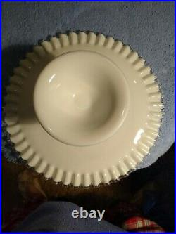 Vintage Fenton Milk Glass Silver Crest Spanish Lace Pedestal Cake Plate Stand