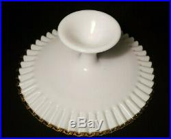 Vintage Fenton Milk Glass with Gold Crest Footed Cake Plate Pedestal Yellow Amber
