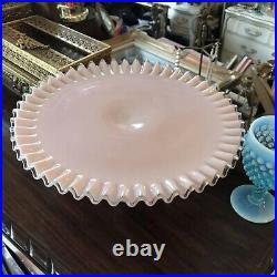 Vintage Fenton Pink Crest Pedestal Cake Plate Stand