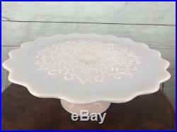 Vintage Fenton Pink Milk Glass Pedestal Cake Plate Spanish Lace