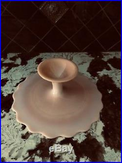 Vintage Fenton Pink Spanish Lace Pedestal Cake Stand Plate Scalloped Edge