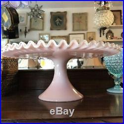 Vintage Fenton Pinkr Crest Pedestal Cake Plate Stand 13