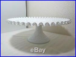 Vintage Fenton Silver Crest Spanish Lace Pedestal Cake Plate Platter 11 1/2