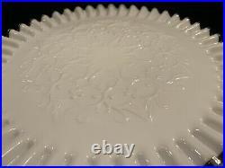 Vintage Fenton Silver Crest Spanish Lace Pedestal Milk Glass Cake Plate Stand