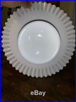 Vintage Fenton Silver Crest Spanish Lace Pedestal Milkglass Cake Plate