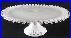 Vintage Fenton Silvercrest Crimped Milk Glass Pedestal Cake Stand Plate