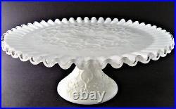 Vintage Fenton Spanish Lace Crimped Milk Glass Pedestal Cake Stand Plate