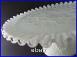 Vintage Fenton Spanish Lace Crimped Milk Glass Pedestal Cake Stand Plate