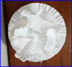 Vintage Fenton Thumbprint Milk Glass Epergne 3 Horn & Cake Plate Pedestal Stand