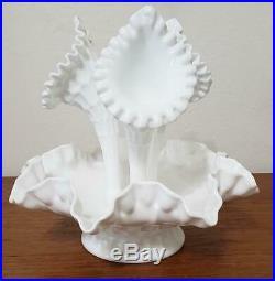 Vintage Fenton Thumbprint Milk Glass Epergne 3 Horn & Cake Plate Pedestal Stand