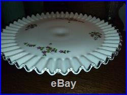 Vintage Fenton Violets in the Snow Cake Plate Pedestal -Silver Crest-OLD