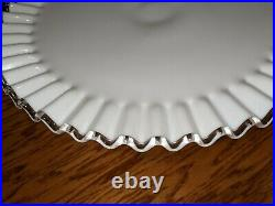 Vintage Fenton White Milk Glass Large Ruffled Pedestal Cake Plate