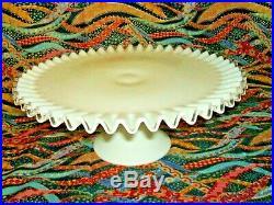 Vintage Fenton White Milk Glass Large Ruffled Silvercrest Cake Plate Pedestal