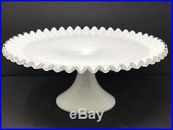 Vintage Fenton White Milk Glass Large Ruffled Silvercrest Pedestal Cake Plate