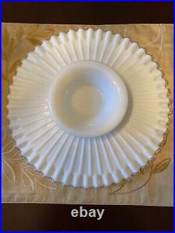 Vintage Fenton White Milk Glass Ruffled Pedestal Cake Plate