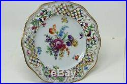 Vintage Floral Dresden Lattice Pedestal Cake Plate Comport Stand MINT