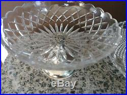 Vintage Footed Glass Cake Stand and Bowl Silver Plated Pedestal West Germany