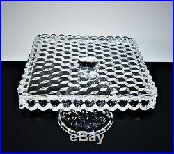 Vintage Fostoria 10 American Square Pedestal Cake Plate Platter With Rum Wel