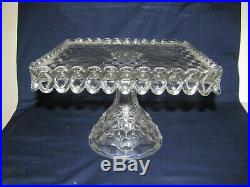 Vintage Fostoria American Clear Glass Square Pedestal Cake Plate with Rum Well 10