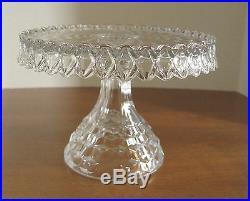 Vintage Fostoria American Crystal Round Pedestal Rum Well Cake Stand Plate