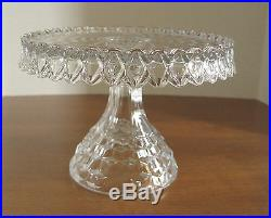 Vintage Fostoria American Crystal Round Pedestal Rum Well Cake Stand Plate