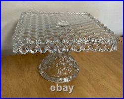 Vintage Fostoria American Square Cake Plate Pedestal Rum Well 10 Stand