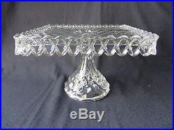 Vintage Fostoria Glass American Pedestal Square Cake Stand Plate Salver Rum Well