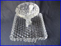 Vintage Fostoria Glass American Pedestal Square Cake Stand Plate Salver Rum Well