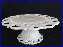 Vintage Fostoria Monroe Milk Glass Pedestal Cake Stand / Cake Plate