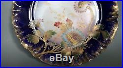 Vintage Gda Limoges France Chrysanthemum Hand Painted Floral Footed Cakeplate