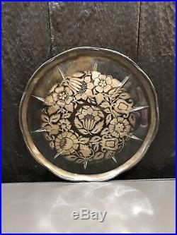 Vintage Georges Briard Gold Floral Inlay Pedestal Cake Plate Stand Server Signed