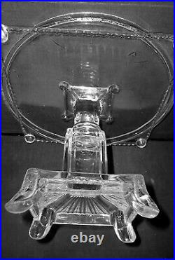 Vintage Glass Cake Plate Pedestal Victorian Footed Stand