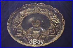 Vintage Glass Pedestal Cake Stand Plate Elegant Design Diamond Triangle Design