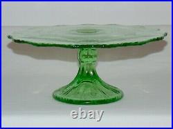 Vintage Green Depression Glass 11 Pedestal Cake Stand Plate Serving Tray