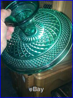 Vintage Green Glass 12 Pedestal Cake Stand Plate Beautiful Color