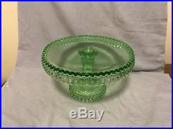 Vintage Green Hobnail Pedestal Cake Stand Set 3 L. E. Smith Cake Plates