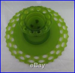 Vintage Green satin Pedestal Cake Plate By Westmoreland Doric pattern 11